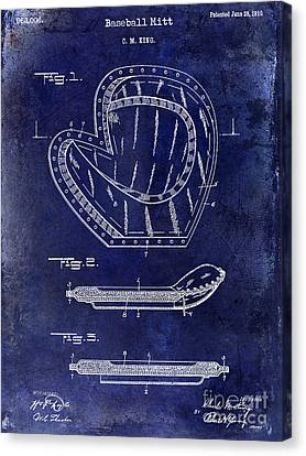 Baseball Canvas Print - 1910 Baseball Patent Drawing Blue by Jon Neidert