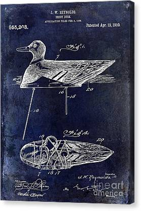 Hunting Bird Canvas Print - 1910 Duck Decoy Patent Drawing by Jon Neidert