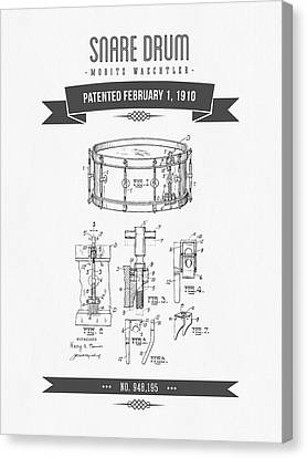 1910 Snare Drum Patent Drawing Canvas Print by Aged Pixel