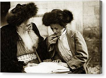 1910 Studying The Torah Canvas Print by Historic Image
