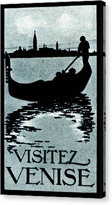 1910 Visit Venice Poster Canvas Print by Historic Image