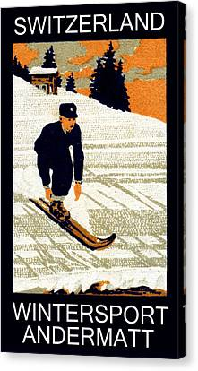 1910 Wintersport Andermatt Canvas Print
