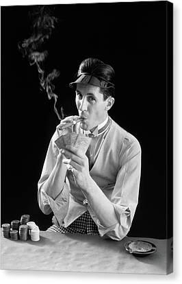 Cravat Canvas Print - 1910s 1920s Character Man Gambler Card by Vintage Images