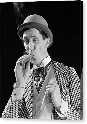 Cravat Canvas Print - 1910s 1920s Character Man Inhaling by Vintage Images