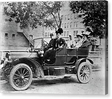 Black Top Canvas Print - 1910s Group Of Five Sitting In Car by Vintage Images