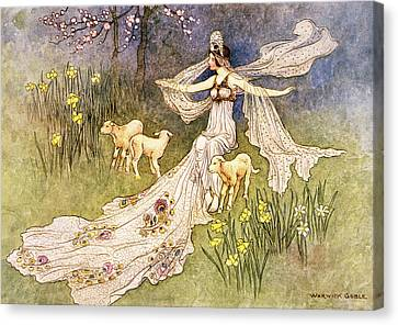 Fairies Canvas Print - 1910s Illustration Fairy Tale The Fairy by Vintage Images