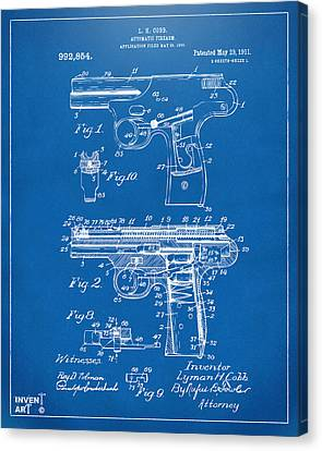 1911 Automatic Firearm Patent Artwork - Blueprint Canvas Print by Nikki Marie Smith
