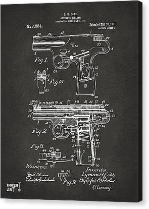 1911 Automatic Firearm Patent Artwork - Gray Canvas Print by Nikki Marie Smith