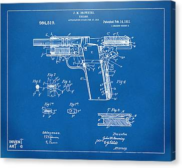 1911 Colt 45 Browning Firearm Patent 2 Artwork Blueprint Canvas Print by Nikki Marie Smith
