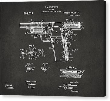 1911 Colt 45 Browning Firearm Patent 2 Artwork - Gray Canvas Print by Nikki Marie Smith
