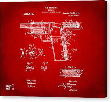 1911 Colt 45 Browning Firearm Patent 2 Artwork Red Canvas Print by Nikki Marie Smith