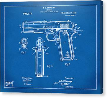 1911 Colt 45 Browning Firearm Patent Artwork Blueprint Canvas Print by Nikki Marie Smith