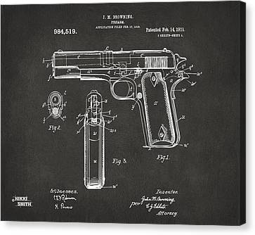 1911 Browning Firearm Patent Artwork - Gray Canvas Print by Nikki Marie Smith
