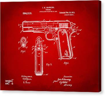 1911 Colt 45 Browning Firearm Patent Artwork Red Canvas Print by Nikki Marie Smith