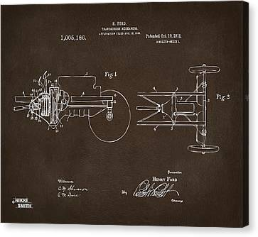 1911 Henry Ford Transmission Patent Espresso Canvas Print