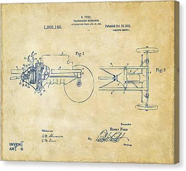 Innovator Canvas Print - 1911 Henry Ford Transmission Patent Vintage by Nikki Marie Smith
