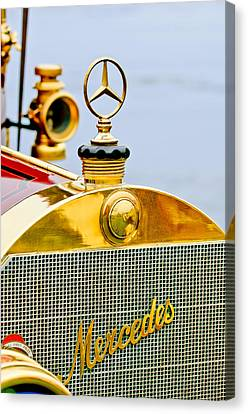 Mercedes Automobile Canvas Print - 1911 Mercedes 50 Hp Maythorn Tourer Hood Ornament by Jill Reger