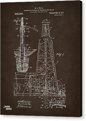 1911 Oil Drilling Rig Patent Artwork - Espresso Canvas Print by Nikki Marie Smith