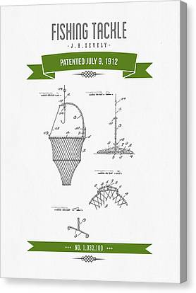 1912 Fishing Tackle Patent Drawing - Green Canvas Print by Aged Pixel