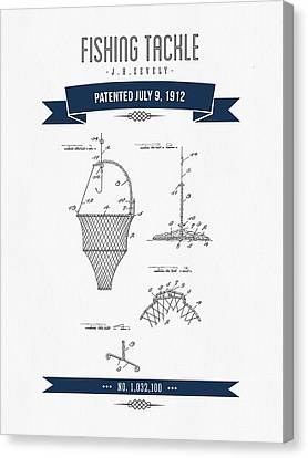 1912 Fishing Tackle Patent Drawing - Navy Blue Canvas Print by Aged Pixel