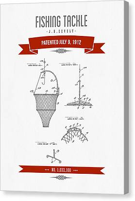 1912 Fishing Tackle Patent Drawing - Red Canvas Print by Aged Pixel