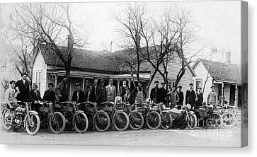1912 Harley Motorcycle Club Canvas Print by Jon Neidert