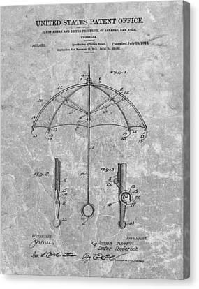 1912 Umbrella Patent Charcoal Canvas Print