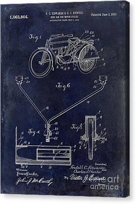 1913 Motorcycle Patent Drawing Blue Canvas Print by Jon Neidert