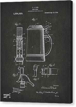 1914 Beer Stein Patent Artwork - Gray Canvas Print