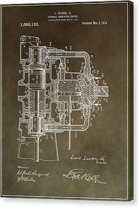 Combustion Canvas Print - 1914 Engine Patent by Dan Sproul