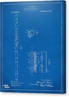 1914 Flute Patent - Blueprint Canvas Print by Nikki Marie Smith