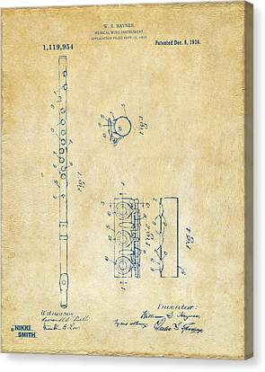 1914 Flute Patent - Vintage Canvas Print by Nikki Marie Smith