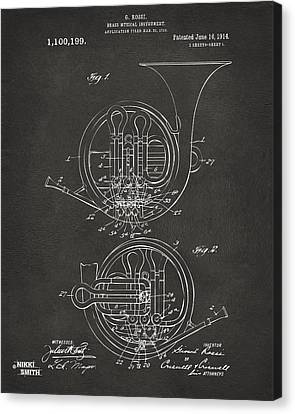 1914 French Horn Patent Art - Gray Canvas Print by Nikki Marie Smith