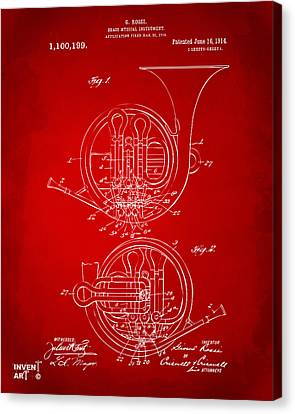 1914 French Horn Patent Art Red Canvas Print by Nikki Marie Smith
