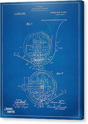 1914 French Horn Patent Blueprint Canvas Print by Nikki Marie Smith