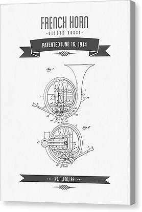 1914 French Horn Patent Drawing Canvas Print by Aged Pixel