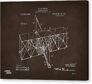 1914 Wright Brothers Flying Machine Patent Espresso Canvas Print by Nikki Marie Smith