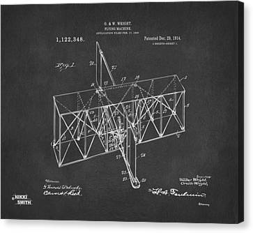 Canvas Print featuring the drawing 1914 Wright Brothers Flying Machine Patent Gray by Nikki Marie Smith