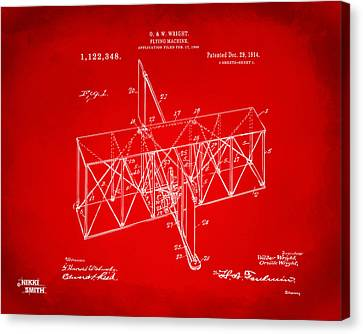 Canvas Print featuring the drawing 1914 Wright Brothers Flying Machine Patent Red by Nikki Marie Smith