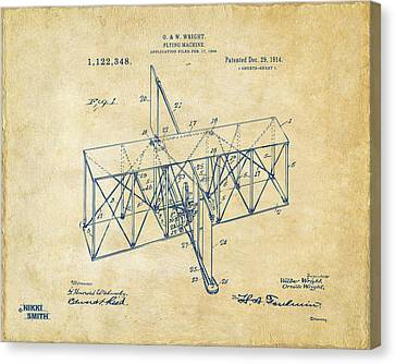 Canvas Print featuring the drawing 1914 Wright Brothers Flying Machine Patent Vintage by Nikki Marie Smith