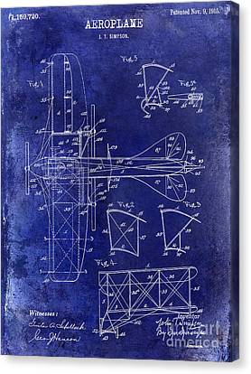 1915 Aeroplane Patent Drawing Blue Canvas Print by Jon Neidert