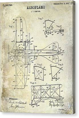 1915 Aeroplane Patent Drawing Canvas Print by Jon Neidert