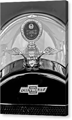 1915 Chevrolet Touring Hood Ornament - Moto Meter Canvas Print by Jill Reger