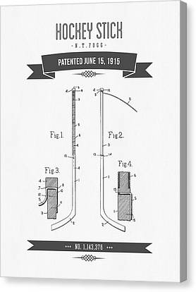 1915 Hockey Stick Patent Drawing - Retro Gray Canvas Print by Aged Pixel