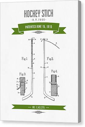 1915 Hockey Stick Patent Drawing - Retro Green Canvas Print by Aged Pixel