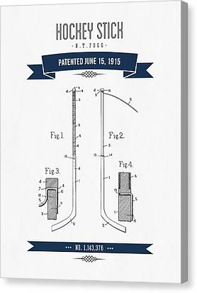 1915 Hockey Stick Patent Drawing - Retro Navy Blue Canvas Print by Aged Pixel