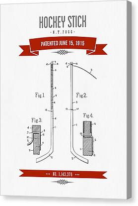 1915 Hockey Stick Patent Drawing - Retro Red Canvas Print by Aged Pixel