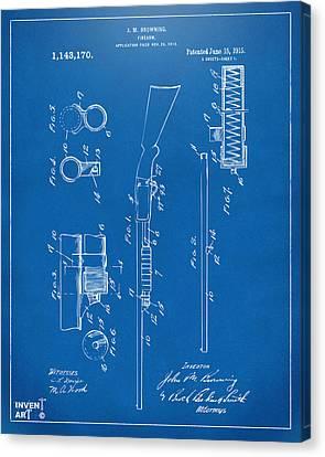 1915 Ithaca Shotgun Patent Blueprint Canvas Print by Nikki Marie Smith