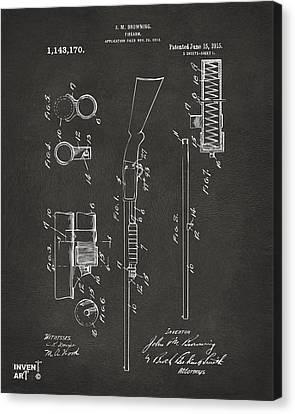 1915 Ithaca Shotgun Patent Gray Canvas Print by Nikki Marie Smith