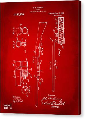 1915 Ithaca Shotgun Patent Red Canvas Print by Nikki Marie Smith